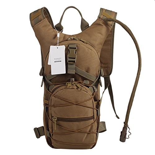 Seamand Hydration Backpack with 3L Water Bladder for Hiking and Climbing (Khaki)