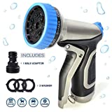 Garden Hose Nozzle Sprayer, Metal Water Nozzle Heavy Duty with 9 Adjustable Watering Patterns, High Pressure Jet Watering Sprayer Settings for Car Wash, Yard Cleaning