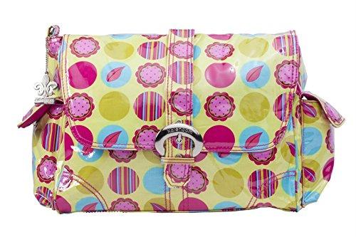 Kalencom Laminated Buckle Bag, Mod Dots Citron
