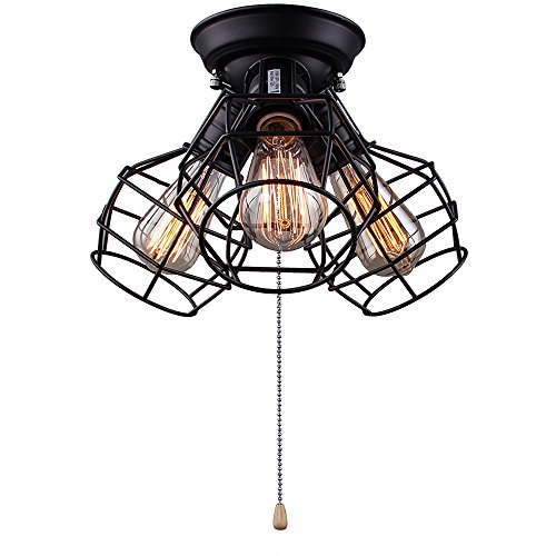 Laluz wire cage ceiling lights 3 light pull string flush mount laluz wire cage ceiling lights 3 light pull string flush mount ceiling light mozeypictures Images