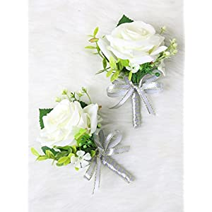 Secret Garden Luxury Roses Boutonniere Pins for Wedding prom party (2pcs) (Gray theme) 74