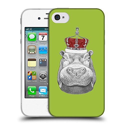 GoGoMobile Coque de Protection TPU Silicone Case pour // Q05260603 hippopotame Android vert // Apple iPhone 4 4S 4G