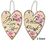 Hearts And Roses Two-Sided Welcome Plaque Wood Sign 9 x 12in