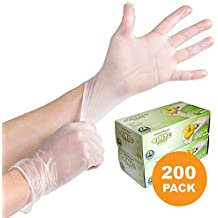 200 Disposable Viny Gloves, Non-Sterile, Poweder Free, Smooth Touch, Food Service Grade, Medium Size [2x100 Pack]