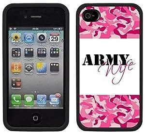 Army Wife Handmade iPhone 4 4S Black Case