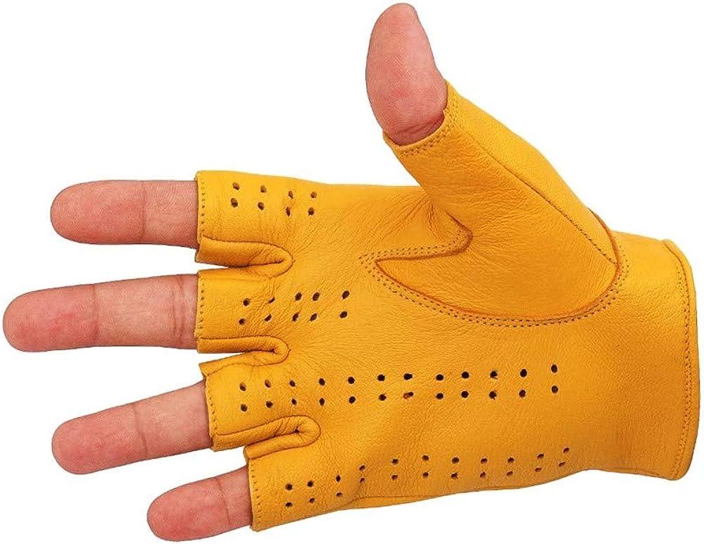 Driving Gloves Half Finger Finger Less Knuckle Holes For Men Genuine Leather
