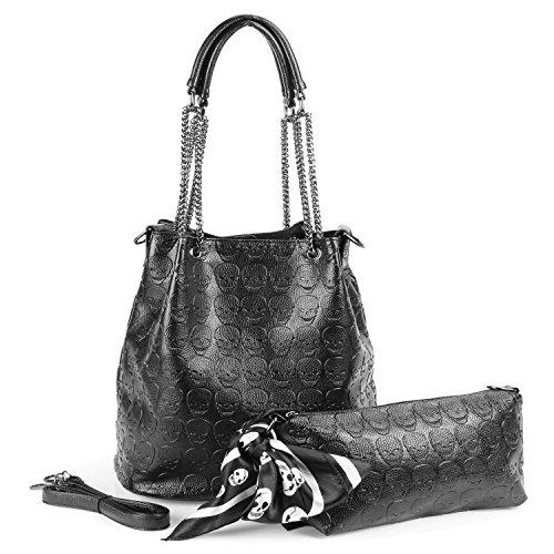 Womens Skull Hobo Tote Bag Chain Shoulder Bag Gothic Handbag Set by MICOM