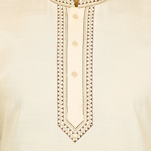 Indian Clothing Fashion Mens Embroidered Short Kurta Cotton (Cream, XL) by Maple Clothing (Image #1)
