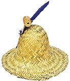 Rasta Imposta Men's Farmer Straw Hillbilly Hat w/Pipe & Feather Halloween Accessory