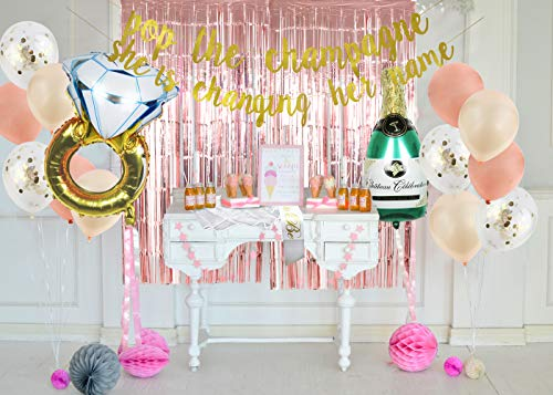 Bachelorette Party Decorations kit - Bridal Shower Decorations Kit– Foil Fringe Curtain, Bride to be Sash, Veil, Ring foil Ballon, Rose Gold, Champagne Balloons, Gold Glitter Banner, Pop the Champagne