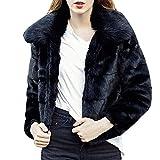 Kemilove Women Casual Solid Color Notch Collar Autumn Winter Faux Fur Coat Outwear Blouse