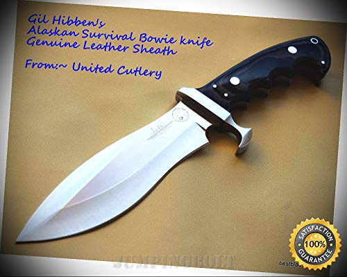 GIL HIBBEN ALASKAN SURVIVAL BOWIE SHARP KNIFE WITH LEATHER SHEATH - Premium Quality Hunting Very Sharp EMT EDC (Gil Hibben Alaskan Survival Knife With Sheath)