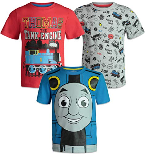 Thomas The Tank Engine Toddler Boys Short Sleeve T-Shirts 3 Pack Red Blue Grey 2T