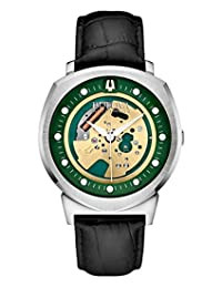 Bulova 96A155 Men's Accutron II Analog-Quartz Green Dial with Black Leather Strap Wrist Watch