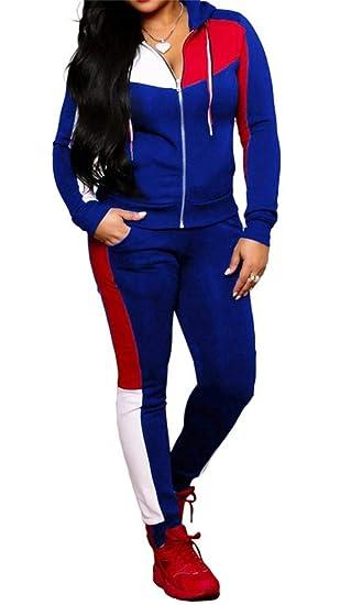 0d7ba80712664 Women Jogging Suits Color Block Long Sleeve Jacket Skinny Long Pant  Tracksuit Sets Activewear 2 Piece Outfits Plus Size