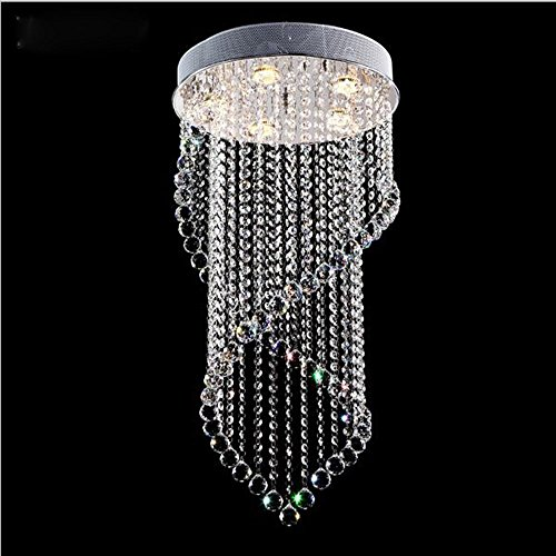 Getop D15.7 inch X H31.5 inch Modern Clear LED k9 Crystal Chandelier Double Helix Design Ceiling Light Fixture ()