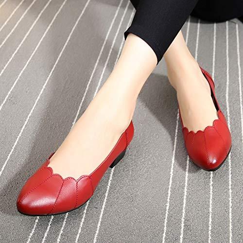 señalaron los Las Solo Trabajo Mujeres Cuadrado FLYRCX la Zapatos Calzan de Superficiales Las Boca talón de del señoras Cuero black del pwOvnnzW0