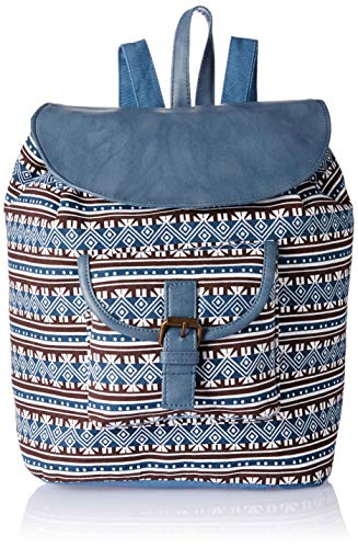 Studio99 Women Backpack Flap Over Bag-Boho Canvas and Vegan PU Leather School, College, for Teens, Ladies, Teens, Girls (16 x 15 x 8