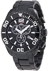 Swiss Precimax Men's SP12162 Deep Blue Pro II Black Dial with Black Stainless Steel Band Watch