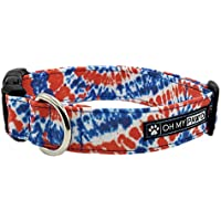 Patriotic Tie Dye Collar for Pets Size Small 3/4 Inch Wide and 12-17 Inches Long - Hand Made Dog Collar by Oh My Paw'd