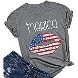 LUKYCILD Women's USA American Flag Lips T-Shirt Summer Cute Graphic Shirt Top Size L (Gray)