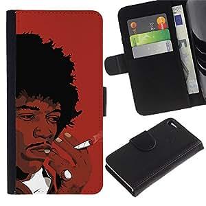KingStore / Leather Etui en cuir / Apple Iphone 4 / 4S / Negro fuma del hombre rizado Arte Africano Cabello Dibujo