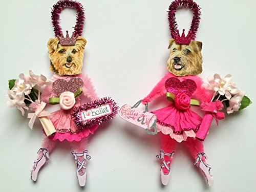 (Norfolk Terrier BALLERINA ORNAMENTS Ballet Vintage Style Chenille Ornaments Set of 2)