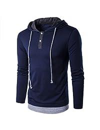 Men's Pullover Long Sleeve Hoodie Shirt Slim Fit Lightweight Hooded T-Shirt