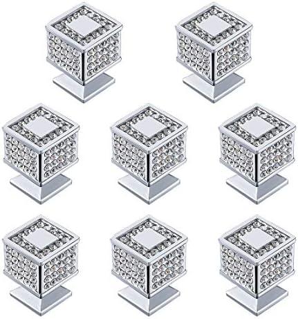 # 3: cromo brillante y blanco Zerone 10 unids Aleaci/ón de Zinc Cuadrados Caj/ón Armario Manija de la puerta Perillas Tiradores de muebles