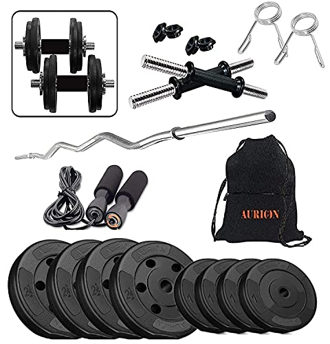AURION C3-W-14kg-R-B 14kg PVC Home Gym Combo with Skipping Rope, Hand Grip and Gym Gloves, 16kg Special Combo Pack