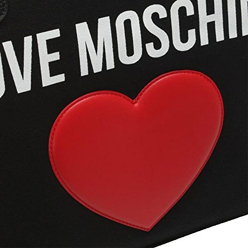 LOVE MOSCHINO Heart Logo Canvas Pebble Tote Bag, Black by MOSCHINO (Image #1)