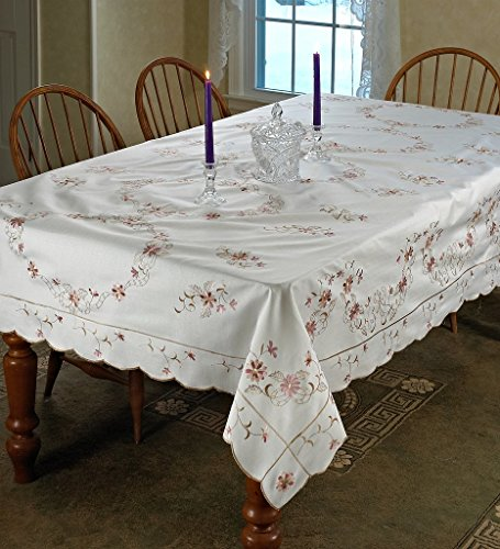 Violet Linen Renaissance Design Tablecloth, 70