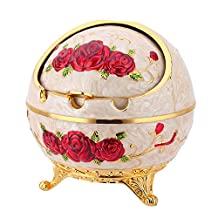 Aishankra Windproof with Lid Round Ashtray Smoker Gift Home Decoration Ornament Multi-Function Storage,G