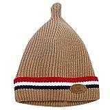 Sikye Winter Baby's Cap Newborn Infant Striped Crocheted Solid Hat Casual Daily Cozy Headwear (Coffee)