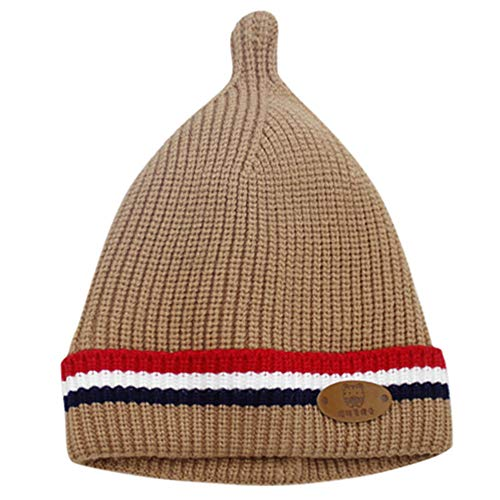 Sikye Winter Baby's Cap Newborn Infant Striped Crocheted Solid Hat Casual Daily Cozy Headwear (Coffee)