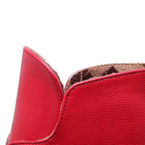 AllhqFashion Mujeres Puntera en Punta Tacón Alto Material Suave Caña Baja Tachonado Botas Rojo