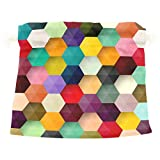 Dragon Sword Abstract Colorful Hexagon Honeycomb Gift Bags Jewelry Drawstring Pouches for Wedding Party, 12.6x17 Inch