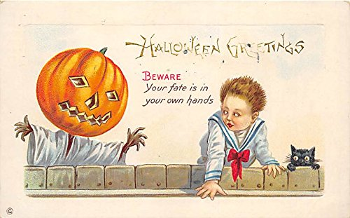 Pumpkin Scarecrow, Child, Black Cat Halloween Postcard Old Vintage Post Card ()