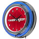 Trademark Gameroom NBA1400-WW2 NBA Chrome Double Rung Neon Clock - Fade - Washington Wizards