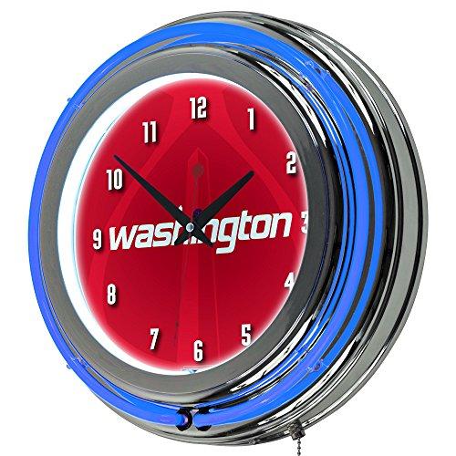 Trademark Gameroom NBA1400-WW2 NBA Chrome Double Rung Neon Clock - Fade - Washington Wizards by Trademark Global