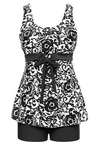 Tragarse Swimsuit Women's Plus Size Retro Two Piece Tankini Swimwear (5XL(US 30W- 32W), Black)