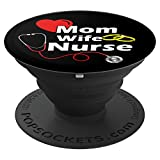 Cool Mom Wife Nurse Cute Black Nursing - PopSockets Grip and Stand for Phones and Tablets