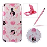 Glitter Case for Samsung Galaxy A5 2017 A520,Crystal TPU Cover for Samsung Galaxy A5 2017 A520,Herzzer Ultra Slim Creative [Pink Flamingo Pattern] Bling Sparkly IMD Design Shock-Absorbing Soft Silicone Gel Bumper Cover Flexible TPU Transparent Skin Protective Case