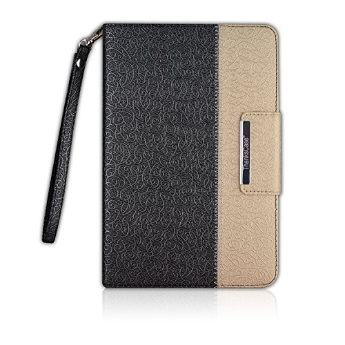 Thankscase Case for iPad Mini 4, Rotating Case Smart Cover for iPad Mini 4 with Wallet Pocket with Hand Strap with Great Pattern for iPad Mini 4 (Black Gold)