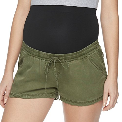 Women Maternity aglow Soft Shorts (Green, M)