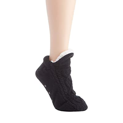 HUE Women's Fluffy Slipper Shue Sock with Grippers at Women's Clothing store