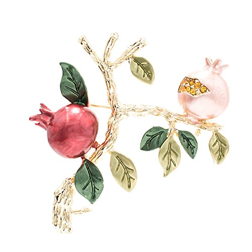 SEPBRIDALS Rhinestone Crystal Enamel Leaves Pomegranate Brooch Pin Broach for Woman Jewelry 20470 (Red)