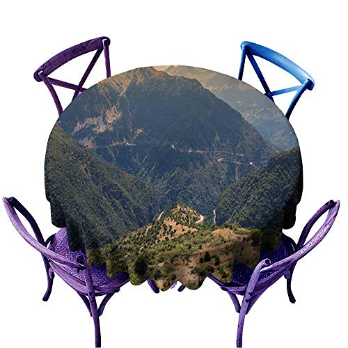 Acelik Round Solid Polyester Tablecloth,Panoramic View of Mountain in National Park of Tzoumerka Greece Epirus region5,Party Decorations Table Cover Cloth,35 INCH