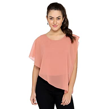 7cb37698e8 Chimpaaanzee Women one sided long Light Pink Top  Amazon.in  Clothing    Accessories