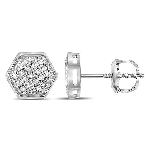 665a381c5136 Jewels by Lux - Pendientes de oro blanco de 10 quilates para hombre con  diamantes redondos y broche hexagonal de 1 10 quilates  Amazon.es  Joyería